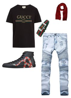 """gucci"" by explorer-15100508446 on Polyvore featuring Gucci, MSGM, men's fashion and menswear"