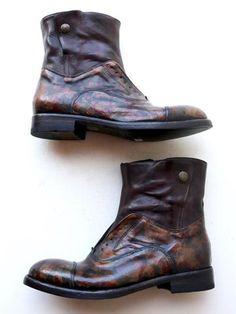 La Bottega di Lisa Oxford Gaiter Boot in in Marron Leather