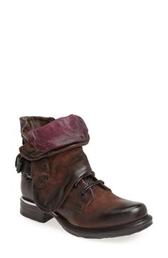 Free shipping and returns on MJUS 'Simon' Front Cuff Leather Boot (Women) at Nordstrom.com. A rugged bootie crafted from gorgeously distressed leather features an adjustable wire in the foldable, color-pop tongue and wraparound shaft cuff that allows customizable positioning for a modern look with menswear influences.