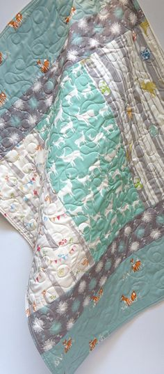 Organic Baby QuiltModern Woodland Baby by NowandThenQuilts on Etsy