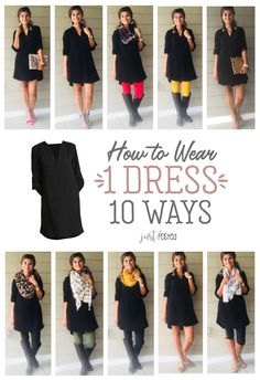How to wear 1 black dress 10 ways! This black dress is so versatile and can be s. : How to wear 1 black dress 10 ways! This black dress is so versatile and can be s., Black dress graduationdress promdresses versatile Ways Wear wear black dress Black Dress Outfits, Fall Outfits, Casual Outfits, Cute Outfits, Black Tshirt Dress Outfit, Black Maxi Skirt Outfit, Chambray Shirt Outfits, Striped Dress Outfit, Dress Casual