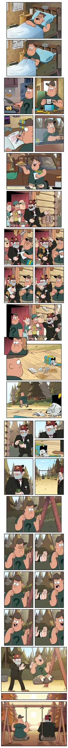 This brought me to tears! EDIT: Thanks so much to everyone who responded. I had heard of Gravity Falls, but hadn't actually had the opportunity to watch it. I now need to find Gravity Falls! Art Gravity Falls, Gravity Falls Comics, Monster Falls, Desenhos Gravity Falls, Gavity Falls, Dipper And Mabel, Mini Comic, Reverse Falls, Father Figure