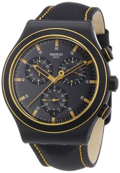 Swatch Noho Time Leather Chronograph Mens Watch YVB400