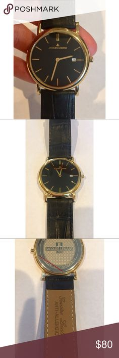 NEW Jacques Lemans Vienna Watch Beautiful classic watch with black leather strap and gold hardware. Never worn, no scratches. Needs battery.  31 mm Leather  Mineral Glass Quartz Watch Jacques Lemans Accessories Watches