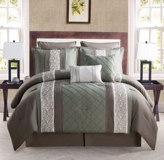 Create a luxurious bed with the Farion 8 Piece Comforter Set by VCNY . Vertical stripes of pattern and texture lead the eye up to the square euro pillows. King Size Comforter Sets, Bedding Sets, Euro Pillows, Euro Shams, Decorative Pillows, Green Bedding, One Bed, Settee, King Beds