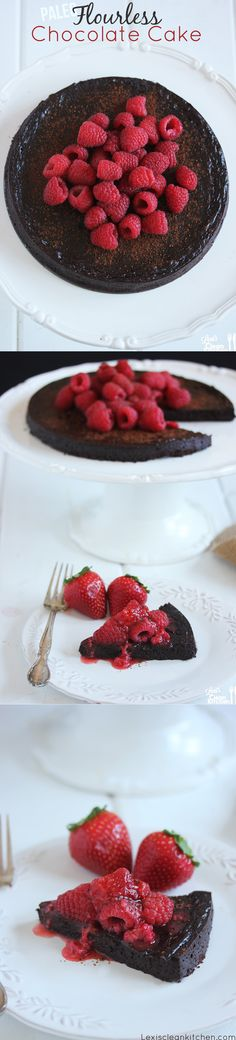 Perfect Valentine's Day Dessert!  Paleo Flourless Chocolate Cake {with berry sauce}