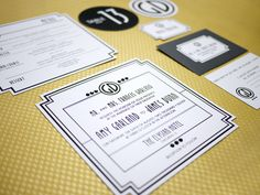 Art Deco/Hollywood Glam Invitation + Event Collateral by Chon Shoaff, via Behance