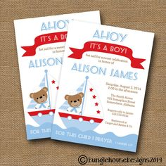Nautical Baby Shower Invitation DIY by bunglehousedesigns on Etsy, $14.00