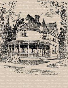 Vintage Clip Art Victorian House Image – 1917 Architecture Illustration – Printable Transfer Graphic – instant download clipart - CU OK