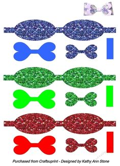 Digital bows - sheet 2 Glitter pattern - assorted colours by Kathy Ann Stone I have a variety of Digital bow to choose from this style is a… Hair Ribbons, Diy Hair Bows, Diy Bow, Fabric Ribbon, Ribbon Bows, Ribbon Crafts, Paper Crafts, Christmas Headpiece, Bow Template