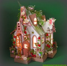 It is time to show you my little Fairy Cottage . I saw the cool Halloween Bewitched Cabin out of the new Haunted Forest SVG Kit from SVGcut. Putz Houses, Fairy Houses, Gingerbread Houses, 3d Paper Crafts, Diy Paper, 3d Paper Projects, Silhouette Cameo, Paper Structure, Home Crafts