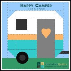 The product Happy Camper 12 in Block Pattern is sold by Appalachian Quilters in… Patchwork Quilting, Quilting Tips, Quilting Tutorials, Quilting Projects, Quilting Designs, Sewing Projects, Quilt Block Patterns, Pattern Blocks, Quilt Blocks
