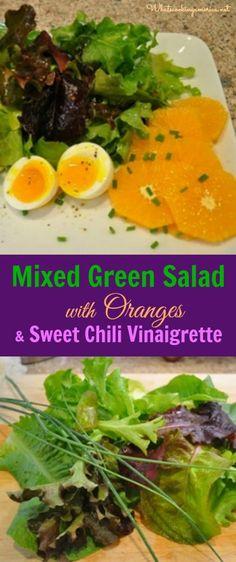 Mixed Green Salad with Oranges & Sweet Chili Vinaigrette Recipe  |  whatscookingamerica.net  |  #salad #oranges #sweet #chili #vinaigrette