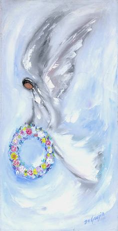 """DeGrazia's wife Marion described this transition by saying """"from the first somber paintings, very strong painting of death and the miseries of humans there began to emerge paintings with a less heavy hand. With a light touch began paintings of an ethereal essence. Miseries lightened into visions of enchantment. …There followed the angels. Angels everywhere. Without angels there would not be anywhere. With angels to guide him, beautiful visions were revealed."""" Happy Throwback Thursday!"""