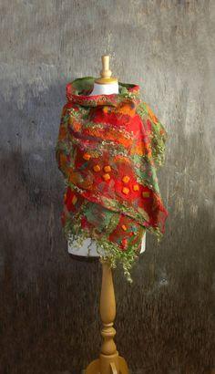 Felted scarf Nuno felted scarf Felt shawl merino wool chiffon silk green red orange olive green felted art winter wool scarf scarf Beautiful and