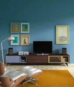 Comedores de diseño Transfer de Kibuc. Módulo de TV de inspiración vintage.
