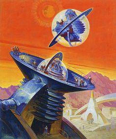 Future Home / Futurism / Space Station / Vintage / Retro Future Illustration