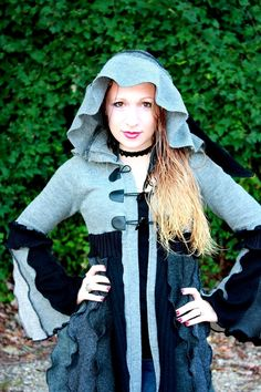 Shadows and Dust- Upcycled Grey Scale Sweater Mini Coat with a Medieval Liripipe Hood by SnugglePants- Ready to Ship via Etsy