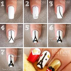 Try some of these designs and give your nails a quick makeover, gallery of unique nail art designs for any season. The best images and creative ideas for your nails. Nail Art Diy, Easy Nail Art, Cool Nail Art, Diy Nails, Cute Nails, Paris Nail Art, Paris Nails, Eiffel Tower Nails, Eiffel Tower Art