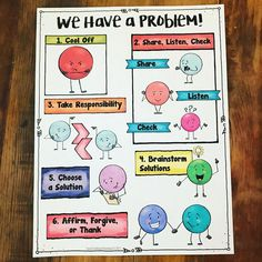 6 steps for conflict resolution. Great lesson for school counseling or the classroom. Elementary School Counseling, School Social Work, School Counselor, School Fun, Counseling Office, School 2017, Counseling Activities, Teaching Activities, Teaching Strategies