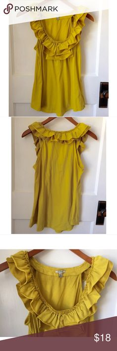 """Mustard yellow Bordeaux top Mustard yellow top with ruffles-- some of them are silk. Size medium with very slight pilling that is not too noticeable but worth mentioning. 18"""" across bust Anthropologie Tops"""