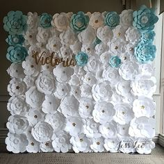 White and blue paper flower wall for a Confirmation celebration at Copper Creek Golf Club in Vaughan, Ontario. Made by Jess Lee.