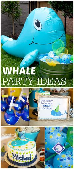 Check out this whale of a party! Perfect for summer! See more party ideas at CatchMyParty.com!