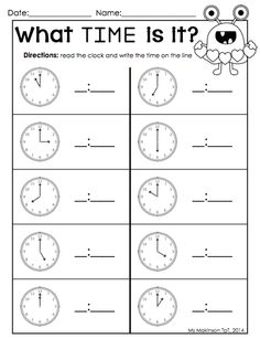 February Printables - Kindergarten Literacy and Math February Printable Packet - Kindergarten Literacy and Math. Telling time by the hour Valentine's Day worksheet. Kindergarten Math Worksheets, Homeschool Kindergarten, Maths, Clock Worksheets, Homeschooling, Teaching Time, Student Teaching, First Grade Math, Second Grade