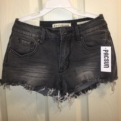 Pacsun High Rise Short Shorts Faded grey color. NWT. Never worn just tried on. Bought from Pacsun. Size 0. PacSun Shorts Jean Shorts