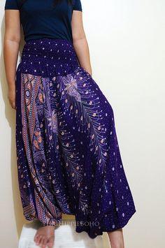 Elegant Peacock Feather Boho Harem Pants/ Hippie Pants/ Gypsy Aladdin Genie Pants/ Yoga Pants/ Wide Leg Pants (Purple)