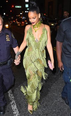 1a637dccd0b Rihanna Slays in an Olive Fringed Jumpsuit at a VMAs After-Party with Drake