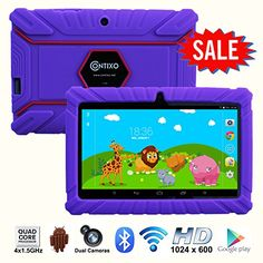 """*BLACK FRIDAY DEAL* Contixo Kids Safe 7"""" Quad-Core Tablet 8GB, Bluetooth, Wi-Fi, Cameras, 20+ Free Games, HD Edition w/ Kids-Place Parental Control, Kid-Proof Case, 2015 Best Christmas Gift + Bonus Items (Purple) - Kids Apps  20+ FREE action games, adventure games, and educational apps to entertain children for hours! Kids will have all the entertainment they need, choose from the apps and games, the selection is perfect for children of any age.  Google Play Store Pre-install"""