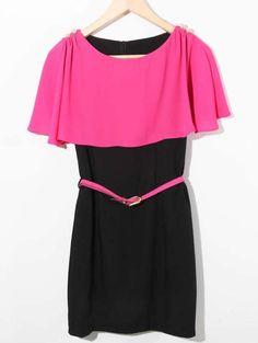 Pink Color Block Cape Chiffon Belt Waist Dress