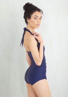 Esther Williams Bathing Beauty One-Piece Swimsuit in Navy | Mod Retro Vintage Bathing Suits | ModCloth.com