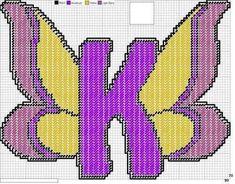 Alphabet butterfly K x-stitch
