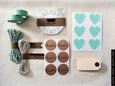 Mint Green Gift Wrap Kit / Mint Green Heart Stickers / Mint Chevron Washi Tape / Thanks Round Kraft Stickers / Baker's Twine / Lace Doilies on Etsy, $32.00