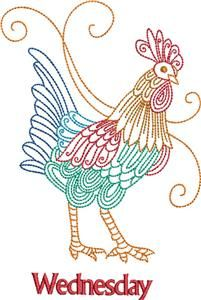 Rooster, Days of the Week 3 (KK1610) Embroidery Design by Kinship Kreations
