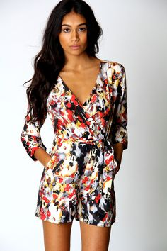 dd0b53ac77 Emma Oriental Wrap Front Belted Playsuit Boohoo Playsuit