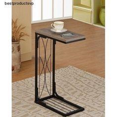 #Ebay #Sofa #Side #Table #Modern #End #Black #Metal #Snack #Slide #Under #Reclaimed #Wood #Look #New #Unbranded #Modern