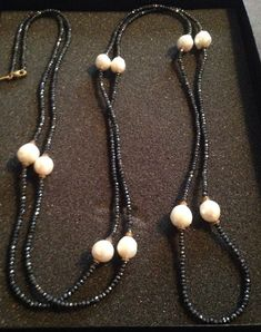 HSN Rarities By Carol Brodie Genuine Black Spinal And Pearl Necklace Approx.72in