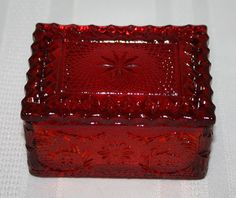 Vintage Indiana Tiara Ruby Red Sandwich Glass Cigarette Trinket Jewelry Box