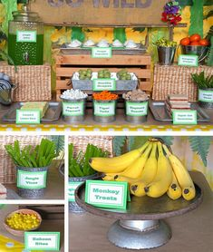 Throw your child a grrrr-eat birthday party with our Jungle Animal Party ideas! Learn how to give your home a wild makeover with the help of these jungle party ideas. Safari Theme Birthday, Jungle Theme Parties, Wild One Birthday Party, Safari Birthday Party, Animal Birthday, 1st Boy Birthday, Boy Birthday Parties, Jungle Theme Food, Zoo Party Food