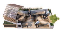 Bank Parklet on Behance Landscape Elements, Landscape Architecture Design, Facade Architecture, Concept Architecture, Urban Landscape, Urban Furniture, Street Furniture, Bus Stop Design, Public Space Design
