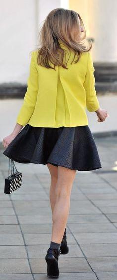 Zara Yellow Tweed Jacket by Make Life Easier