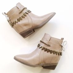 Chained Platform Booties Rad taupe bootie features cool brass hardware and hidden platform for a little added height! Faux leather. Super cute with a dress or skinnies! Price is firm! Check out my closet for more cool stuff  Shoes Ankle Boots & Booties