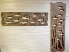 School of Fish Wood Art Sign Panel Vertical Large by CastawaysHall