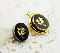 Vintage Black Gold Flower Intaglio Cabochons by alyssabethsvintage, $3.95