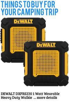 DEWALT DXFRS220 1 Watt Wearable Heavy Duty Walkie Talkies - Shock Resistant, Long Range and Rechargeable Two-Way Radio (2 Pack) … (This is an affiliate link) #campinggadgets
