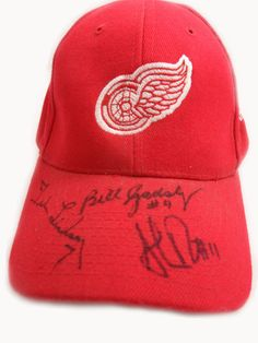 Detroit Red Wings Production Line Autographed Hat (Veterans Day 2008)