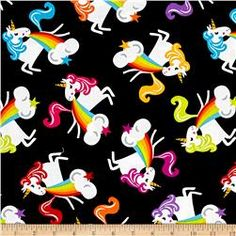Timeless Treasures Rainbow Madness Barfing Unicorns Black